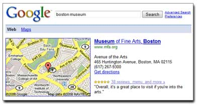 Sample Google Local Search Result