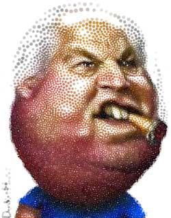 Rush Limbaugh Cartoon figure chomping cigar